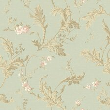 "Heritage Home Delicate Acanthus 27' x 27"" Floral Botanical Distressed Wallpaper"