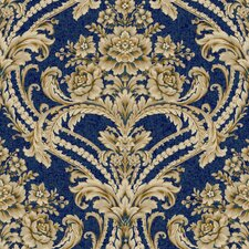 "Saint Augustine 33' x 20.5"" Baroque Floral Damask Embossed Wallpaper"