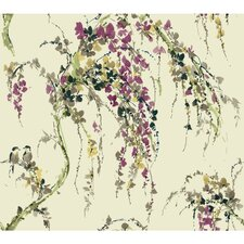 "Watercolors Lovebirds 27' x 27"" Floral Wallpaper"
