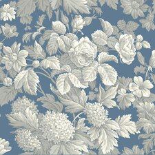 "French Dressing 33' x 20.5"" Floral Botanical Distressed Wallpaper"