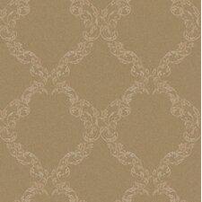 """Royal Cottage Leafy Ogee 33' x 20.5"""" Damask Foiled Wallpaper"""