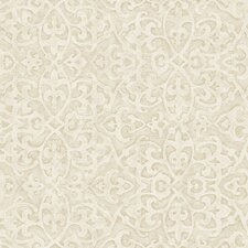 "Fresco Pearly Gate 33' x 20.5"" Damask Embossed Wallpaper"