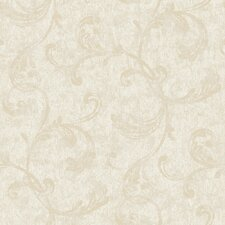 "Fresco Velvet 33' x 20.5"" Scroll Embossed Wallpaper"