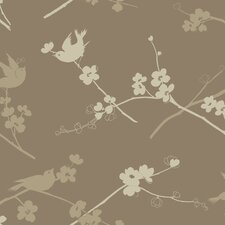 "Silhouettes 33' x 20.5"" Cherry Blossom Bird Floral Wallpaper"