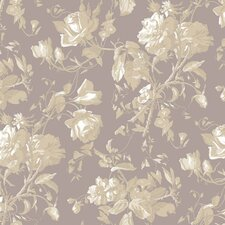 "Gentle Manor 27' x 27"" Trail Floral Distressed Wallpaper"