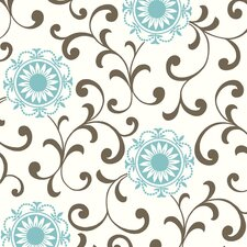 "Silhouettes 33' x 20.5"" Daisy Medallion Scroll Embossed Wallpaper"