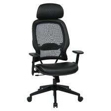 "Space Seating 32.75""AirGrid Back Manager's Chair with Eco Leather Seat and Adjustable Headrest"