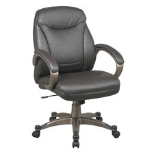 Back Leather Deluxe Faux Executive Chair with Coated Frame and Padded Arms