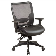 SPACE Professional Matrex Mid-Back Leather Office Chair with 4-Way Adjustable Arms