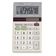 "8-Digit Pocket Calculator, Dual Power, 2-1/2""x4""x1/2"", Gray"
