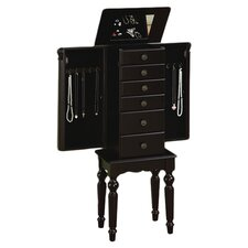 Antique Black Petite Ebony Jewelry Armoire with Mirror