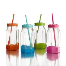 Jar with Lid and Straw (Set of 4)