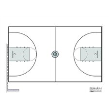 Dry-Erase Coaching Aides Mat Basketball Magnetic Whiteboard, 1' x 2'