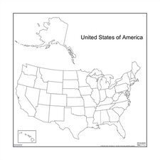 Dry-Erase Teaching Aides Mat - United States Map Magnetic Whiteboard, 3' x 3'