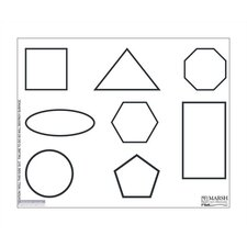 Dry-Erase Teaching Aides Mat - Shapes Graphic Magnetic Whiteboard, 1' x 2'