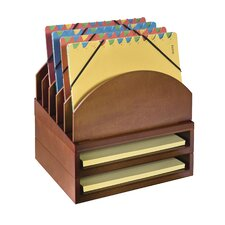 Stacking Wood Desk Organizers Step Up File & 2 Tray Kit