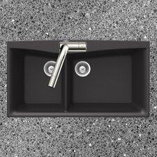 "37"" x 20.25"" Arco Series Dual Mount 70/30 Double Bowl Kitchen Sink"