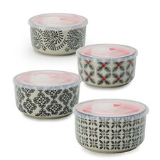 Print 1 4 Piece Microwave Storage Serving Bowl Set