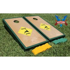 Deer Xing Green Border with Birch Wooden Center Cornhole Game Set