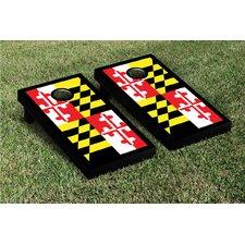 State Maryland Flag Border Cornhole Boards Game Set