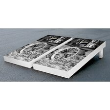 Rustic Wheelbarrow Themed Cornhole Boards Game Set