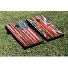 US and UK Flags Distressed Wood Cornhole Game Set