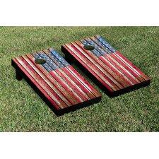 NCAA United States US Flag Distressed Wood Cornhole Game Set