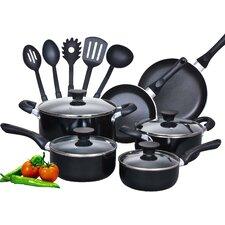 15 Piece Soft Handle Nonstick Cookware Set