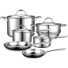 Multi-Ply Clad Stainless-Steel 10 Piece Cookware Set
