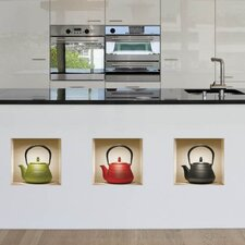 3D Effect Teapot Wall Mural