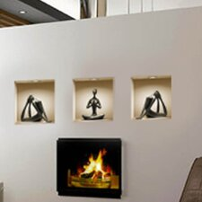 3D Effect Yoga Silhouette Figurine Wall Decal (3-Piece Set)