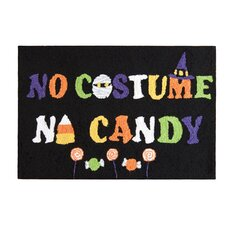 No Costume No Candy Black Hooked Area Rug