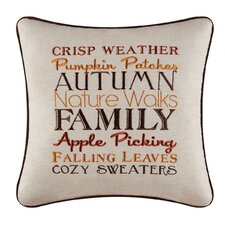 Autumn Crisp Weather Embroidered Throw Pillow