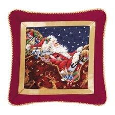 Santa with Sleigh Needlepoint Wool Throw Pillow