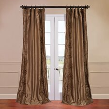 Chai Embroidered Faux Silk Single Curtain Panel