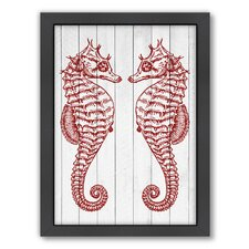 Double Seahorse Wood Framed Graphic Art in Crimson