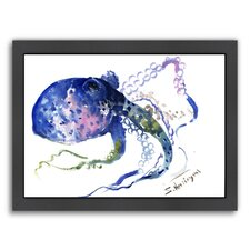 Blue Octopus Framed Painting Print