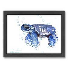Tortoise Small by Suren Nersisyan Framed Painting Print in Blue