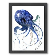 Octopus by Suren Nersisyan Framed Painting Print in Blue