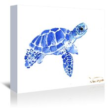 Blue Tortoise 2 Painting Print on Gallery Wrapped Canvas