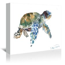 Blue Tortoise Painting Print on Gallery Wrapped Canvas