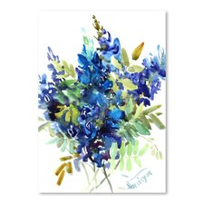 Flowers by Suren Nersisyan Painting Print in Blue