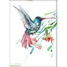 Humming Bird and Flowers by Suren Nersisyan Painting Print