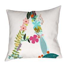 Floral Letter Cotton Throw Pillow