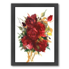 Deep Red Roses Framed Painting Print
