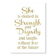 She is Clothed Strength Gold on White Poster Gallery Painting Print