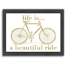 Bicycle Life is Beautiful Ride Gold on White Framed Textual Art
