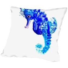 Blue Seahorse Throw Pillow