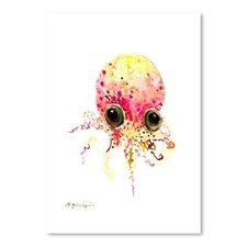 Baby Octopus Peach Color by Suren Nerisyan Painting Print