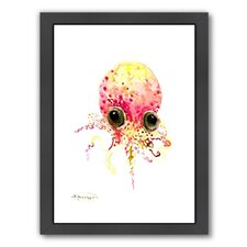 Baby Octopus Peach Color by Suren Nerisyan Framed Painting Print